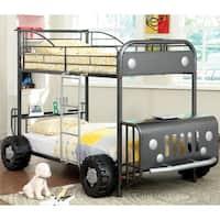 Furniture of America Jones Metal SUV-Inspired Twin over Twin Bunk Bed