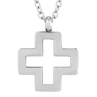 Elya Stainless Steel Open Cross Pendant Necklace - 21 inches