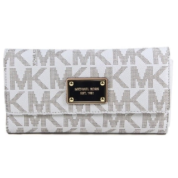 6cc76b26af07 Shop Michael Kors Jet Set Signature Checkbook Wallet - Free Shipping ...