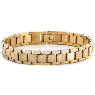 Stainless Steel Men's Brushed and Polished Link Bracelet (Option: Yellow)
