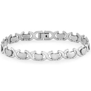 ELYA Stainless Steel Heart Link Bracelet