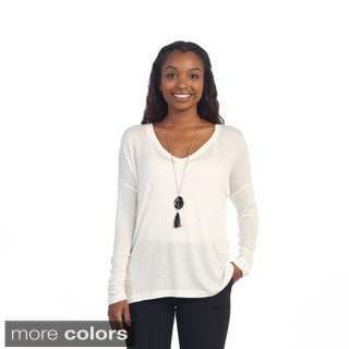 Hadari Women's Casual Long Sleeve V-neck Solid Top