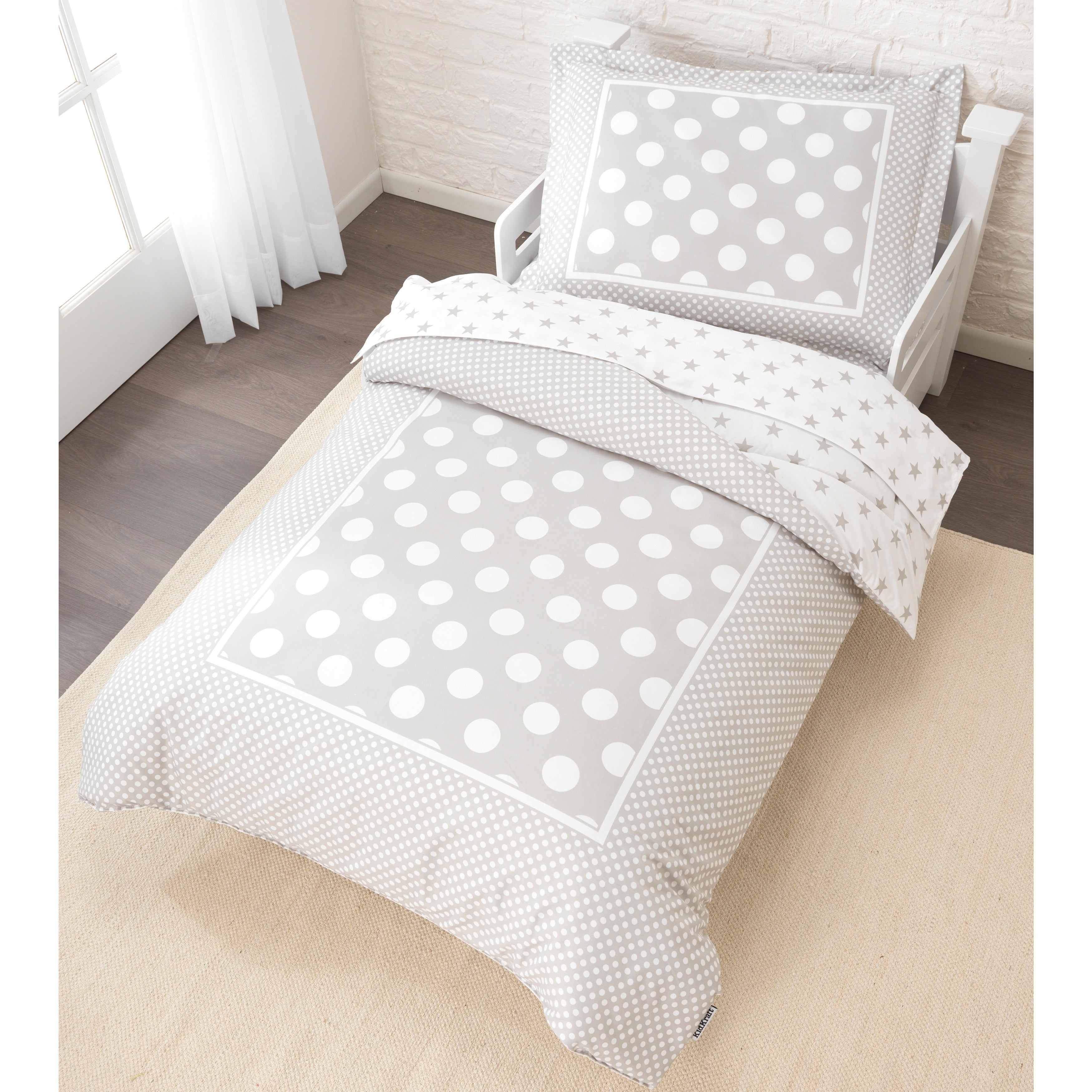 Stars And Polka Dots 4 Piece Toddler Bedding Set Overstock 9331903