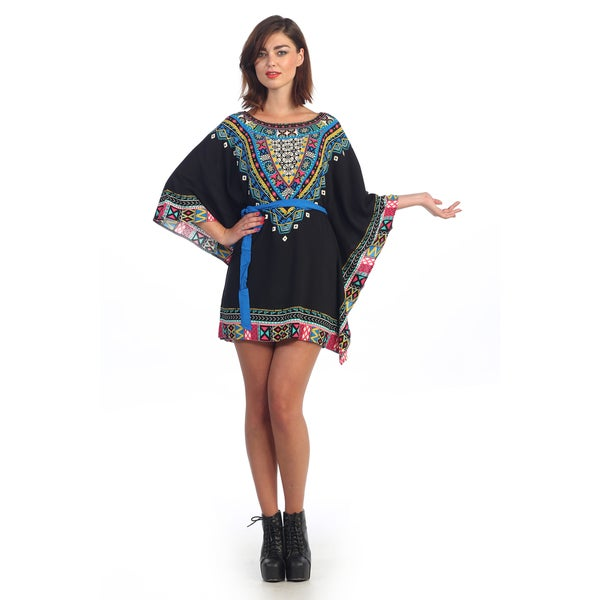 Hadari Women's Contemporary Black Tribal Tunic Dress