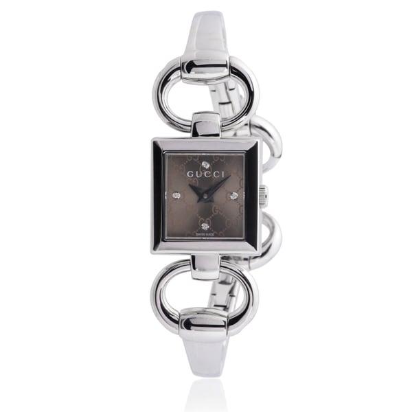 12ce818ba Gucci Women's YA120509 Stainless Steel Diamond 'Tornabuoni&#