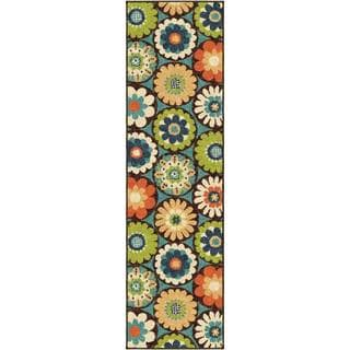 Thumbnail 1, The Curated Nomad Pacheco Indoor/Outdoor Retro Floral Runner Rug (2'3 x 8').