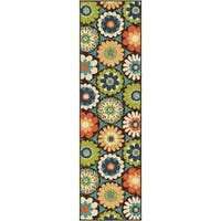 The Curated Nomad Pacheco Indoor/Outdoor Retro Floral Runner Rug - 2'3 x 8'