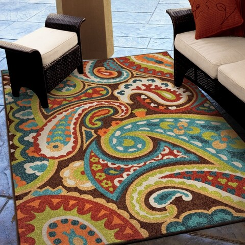 Havenside Home Morgantown Indoor/Outdoor Paisely Rainbow Multi Rug By - 5'2 x 7'6