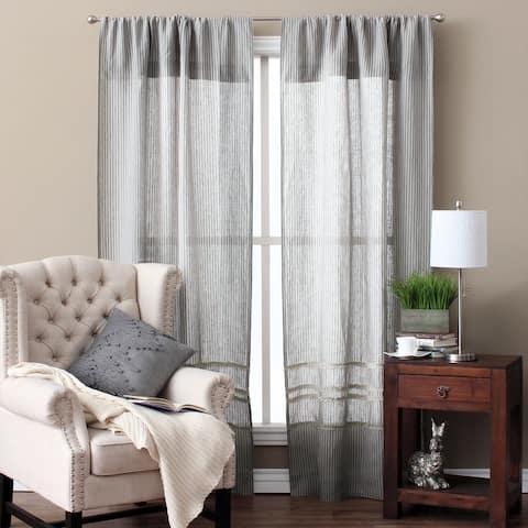 Cottage Home Stripe Linen 42 x 96 Single Curtain Panel - 42 x 96