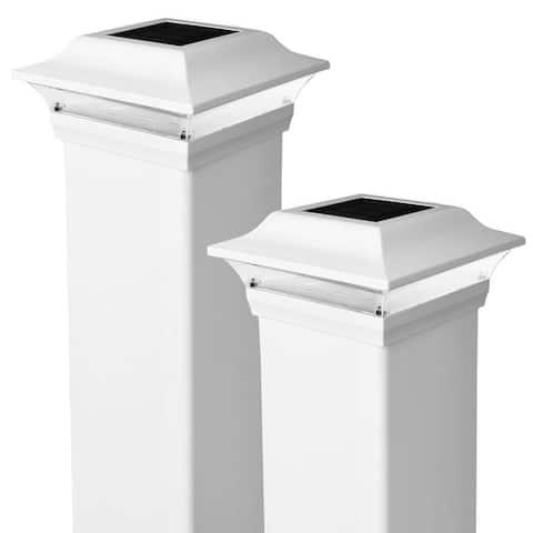Classy Caps 4x4 White Aluminum Imperial Solar Post Cap (Set of 2)