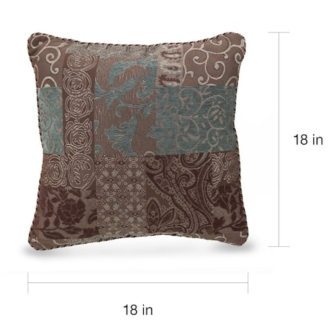 Croscill Galleria Brown Patchwork Square Throw Pillow