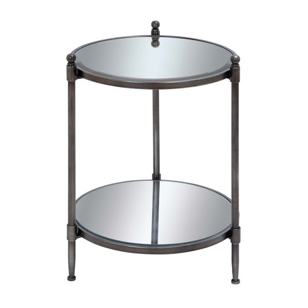 Mirrored Accent Table: Shop Bourges 24-inch Round Mirrored Metal Accent Table