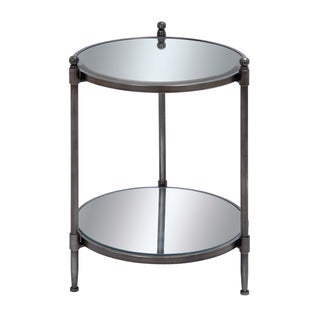 Bourges 24 Inch Round Mirrored Metal Accent Table