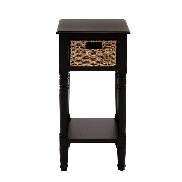 Shop Andrea Wood Burlap Basket End And Accent Table Free