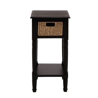 Andrea Wood Burlap Basket End And Accent Table
