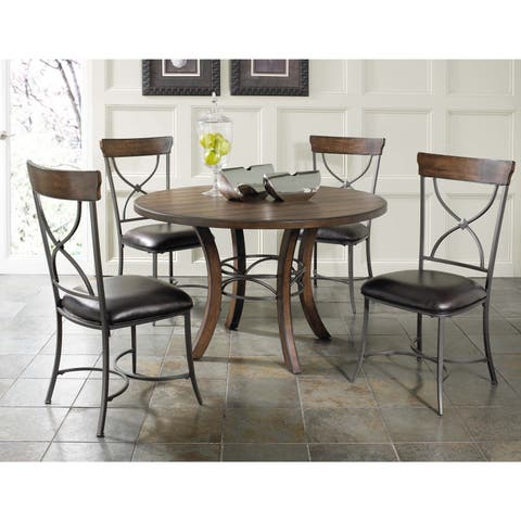 Cameron 5-piece Round Wood Dining Set with X-back Chairs