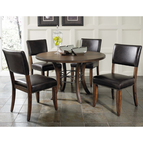 Shop Cameron 5-piece Round Wood Dining Set With Parsons