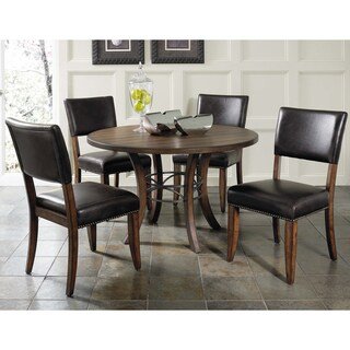 Cameron 5-piece Round Wood Dining Set with Parsons Chairs