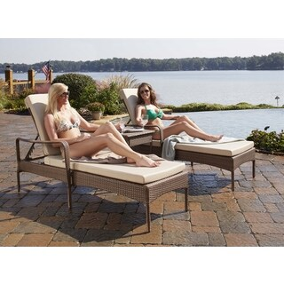 Panama Jack Key Biscayne 3-piece Chaise Lounge Set with Cushions