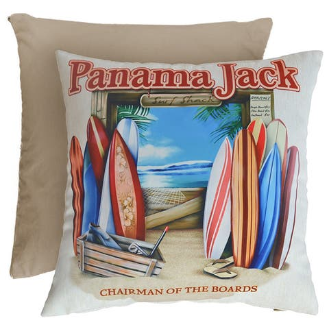 Panama Jack 'Chairman of The Boards' Square Throw Pillows (Set of 2)