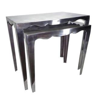 Metallic Aluminium Stackable Nesting Tables (Set of 2)