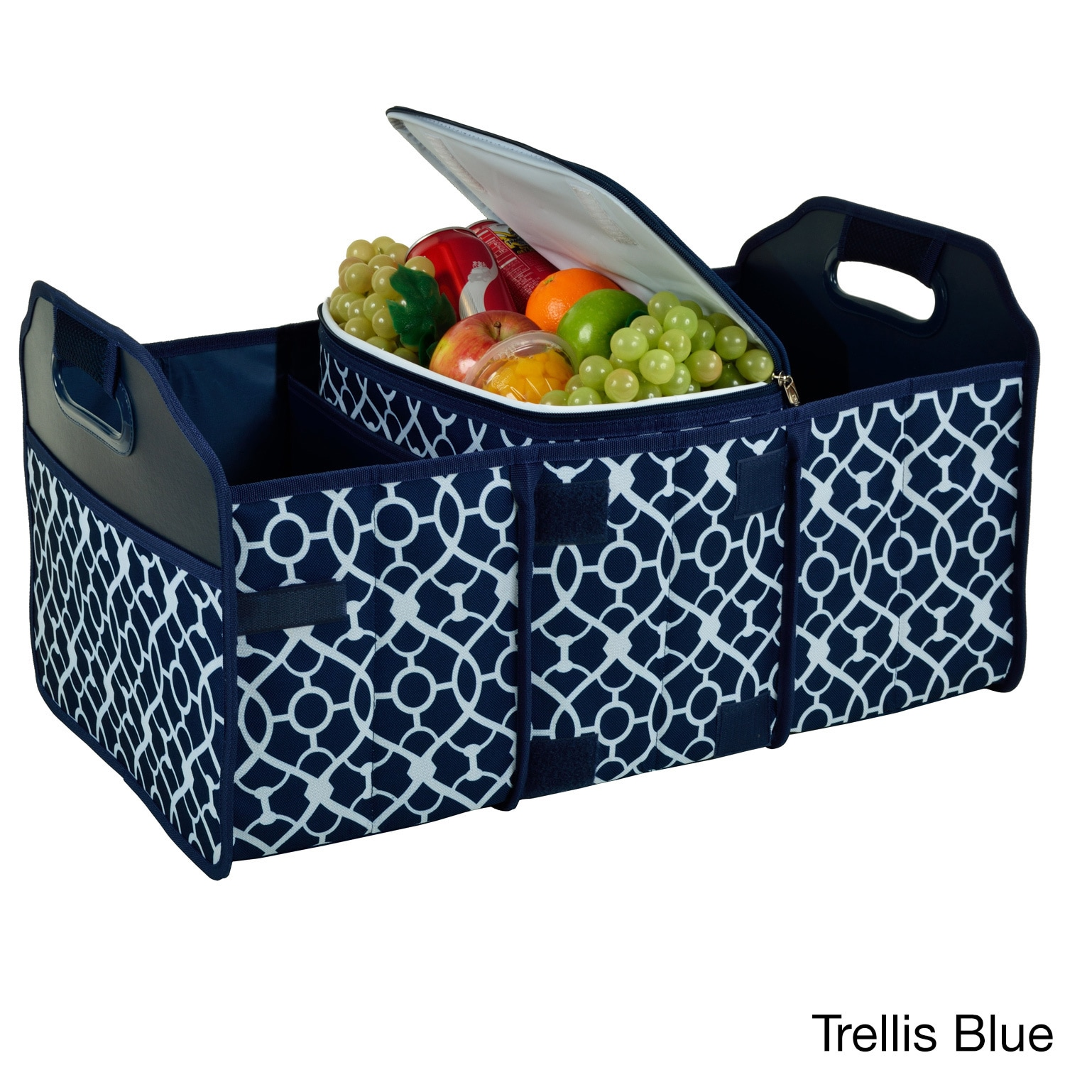 Picnic at Ascot Trunk Organizer and Cooler Set (White/Blu...