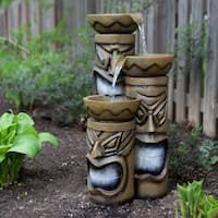 Decorative Indoor or Outdoor Tiki Fountain with LED Lights