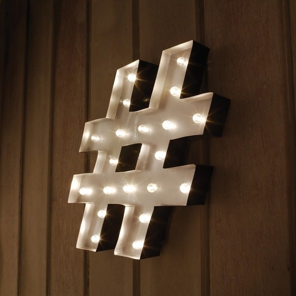 Shop Hashtag (#) Decorative LED Marquee Sign