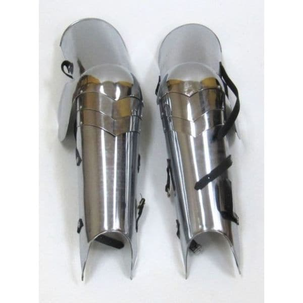 Decorative Silver Finish Iron Full Leg Armour