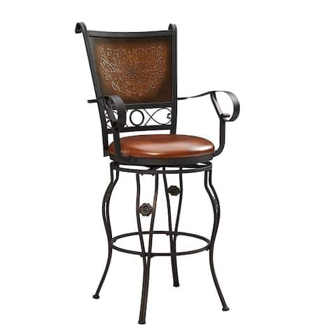 Powell Aberdeen Stamped Back Big and Tall Barstool with Arms - N/A