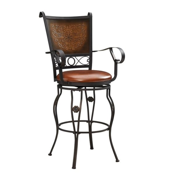 Powell Aberdeen Stamped Back Big and Tall Dark Brown Upholstered Metal Barstool with Arms
