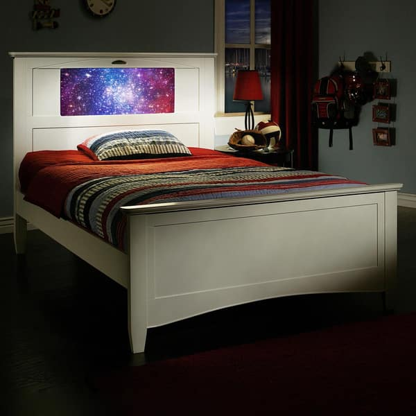 Shop Lightheaded Beds Canterbury Satin White Full Bed With Changeable Back Lit Led Headboard Imagery Overstock 9332598