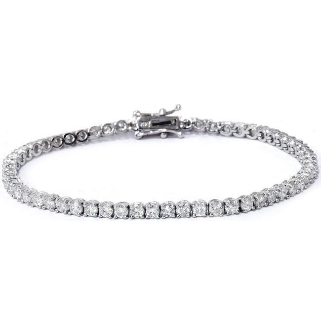 """14k White Gold 4ct TDW Diamond Tennis Bracelet (Length 7""""..."""