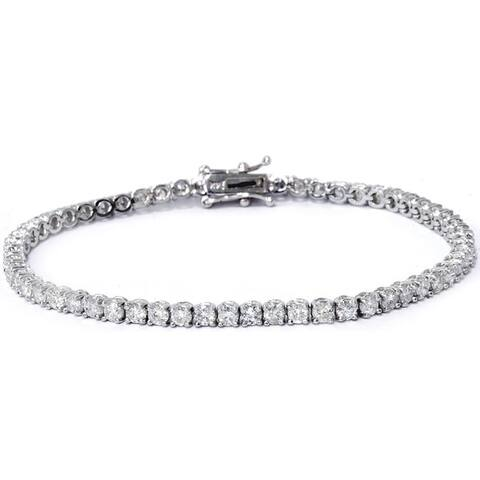 14k White Gold 4ct TDW Diamond Tennis Bracelet