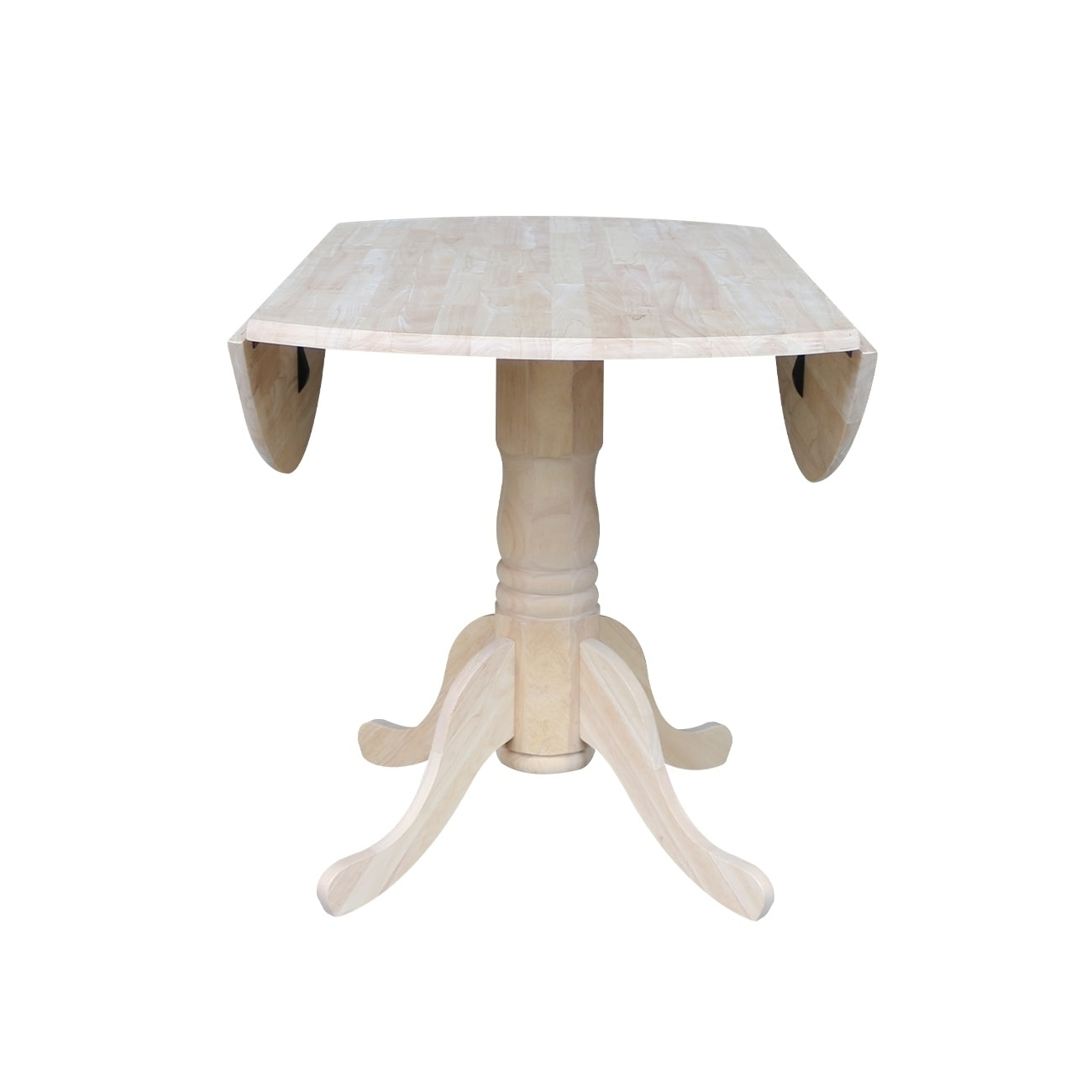 International Concepts Unfinished 42 Inch Round Dual Drop Leaf Dining Table