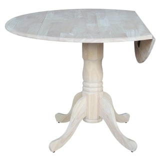 Unfinished 42-inch Round Dual Drop-leaf Dining Table