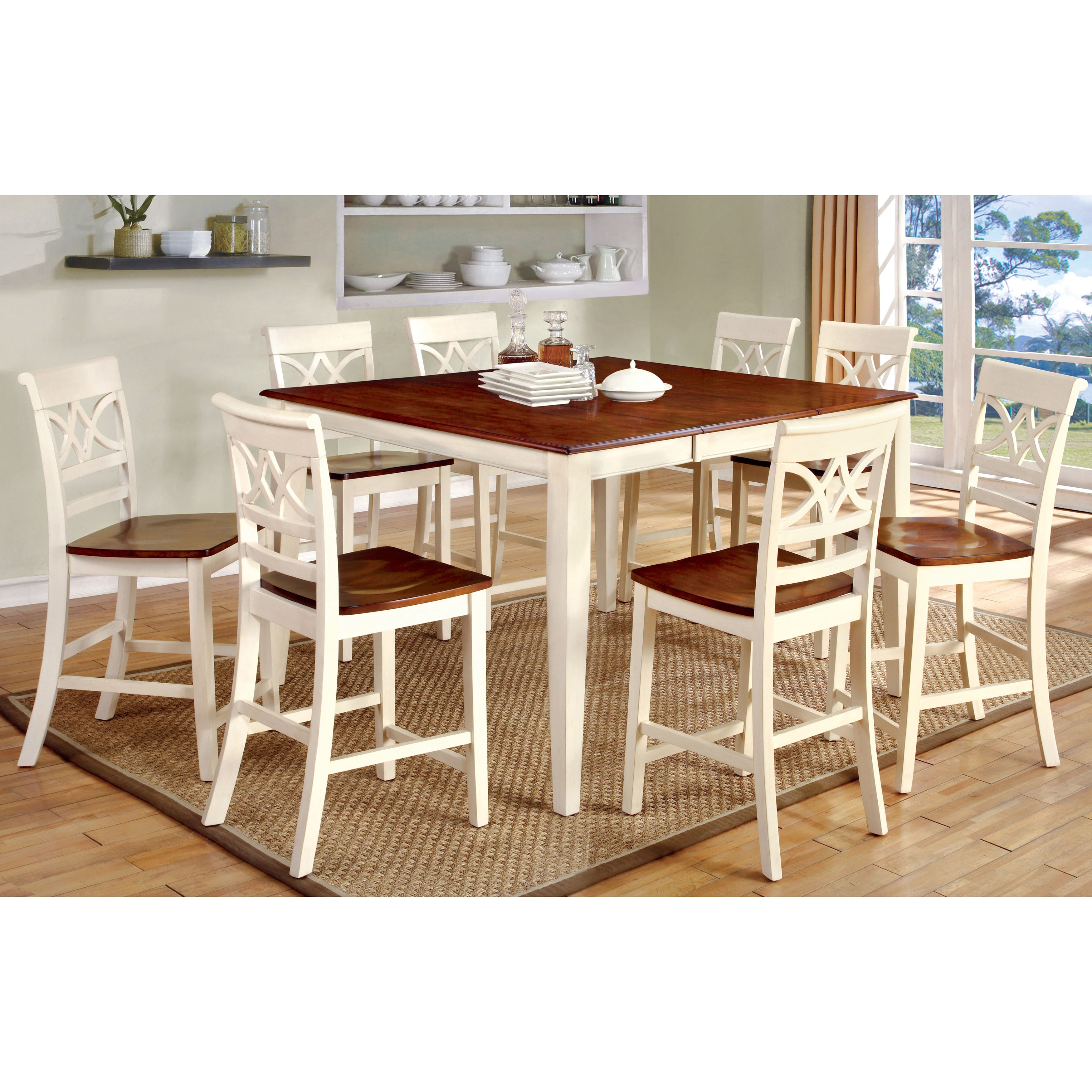 Furniture of America Betsy Joan Duo-Tone 9-Piece Counter Height Table Set  sc 1 st  Overstock & Shop Furniture of America Betsy Joan Duo-Tone 9-Piece Counter Height ...