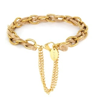 Elya Goldplated Stainless Steel Link and Satin Cord Chain Bracelet
