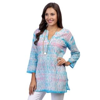 Women's Pink/ Blue Tie-dye 3/4-sleeve Tunic (India)