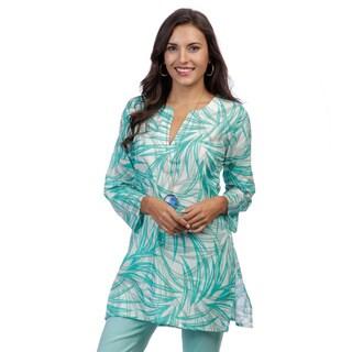 Handmade Women's Blue/ White Leaf Print Tunic (India)