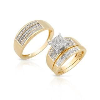 14k two tone gold 12ct tdw diamond matching his and hers wedding ring - Overstock Wedding Rings