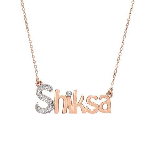 Two-tone Rose Gold Shiksa Vida Necklace with Diamonds