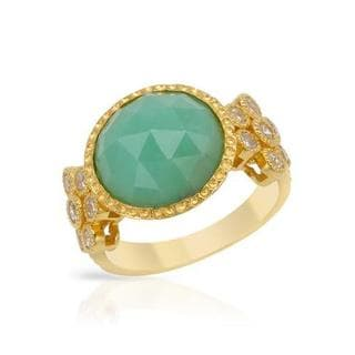 Yours by Loren Ring with 10.59ct TW Chalcedony and Zircons of 14K/925 Gold-plated Silver