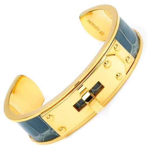 Pre Owned Hermes Kelly Collection Goldplated Metal And Blue Leather Cuff Bracelet