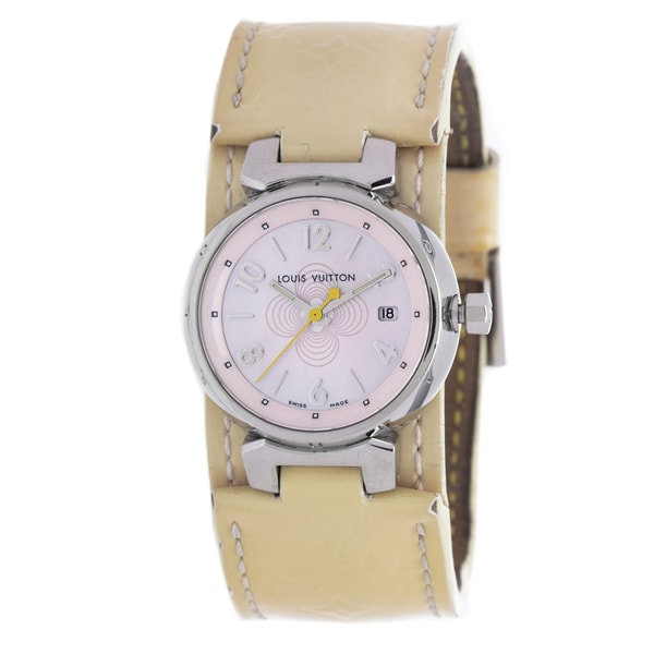 a315cb7adf3f Shop Pre-Owned Louis Vuitton Women s Beige Leather Watch - Free ...