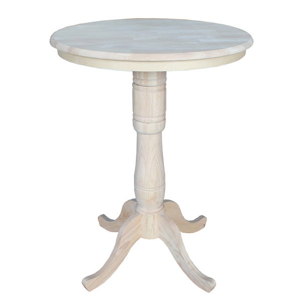 Unfinished 36 Inch Round Bar Height Pedestal Table Free