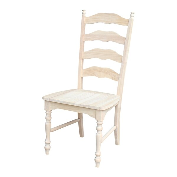 Incroyable International Concepts Unfinished Solid Parawood Maine Ladderback Chair  (Set Of 2)