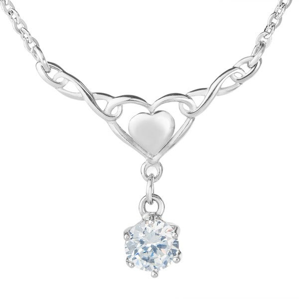 ELYA Cubic Zirconia High Polish Infinity Heart Stainless Steel Necklace