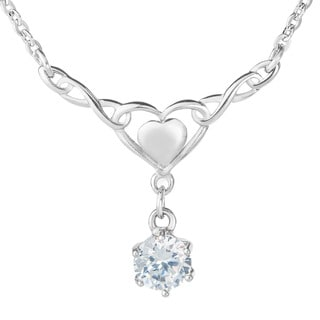 ELYA Stainless Steel Eternity Heart and Cubic Zirconia Necklace