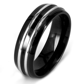 Crucible Black Plated Polished Stainless Steel Striped Domed Comfort Fit Ring - 8mm Wide